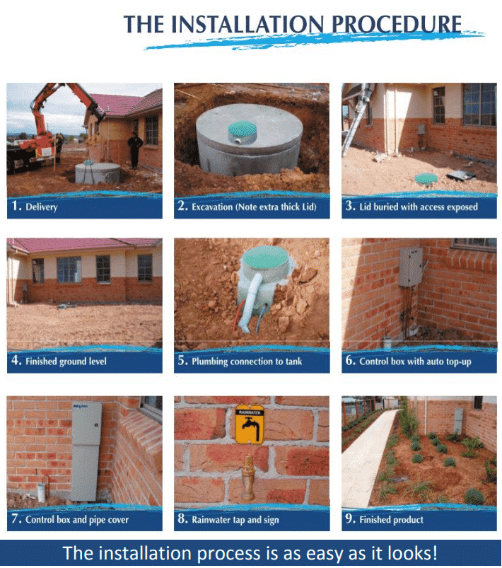 the 9 step installation process of rainwater tanks by raincycle